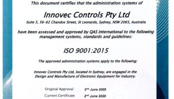 Innovec Controls ISO Certificate
